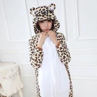 adult bear suits - Winter Kigurumi Pajamas Leopard Bear Flannel Animal Sleepwear Unisex Christmas Cosplay Anime Costume Onesie Adults Pyjama Suit