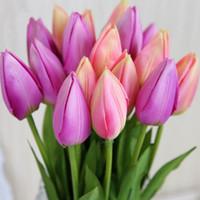 silk tulips - Hot Sale Artificial Silk Tulip Floral Decorative Flowers cm Simulation European Flower Bouquet For Home Living Room Display Wedding Decor