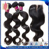 Wholesale Middle part Virgin Hair Lace Closure quot Human Hair bundles A Virgin Brazilian Hair weave Dyeable Accept Returns