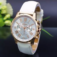 china watches - Cheap Watches China Men Watch Women fashion Geneva Watch waterproof quartz watches fake three decorated Roman numeral dial PU leather strap