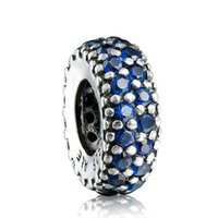 925 sterling silver beads - Round Circle With Blue Crystal Charm Sterling Silver European Charms Bead Fit Snake Chain Bracelets Fashion DIY Jewelry