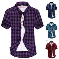 Wholesale High quality plaid shirts Mercerized cotton stretch shirt short sleeve men shirt