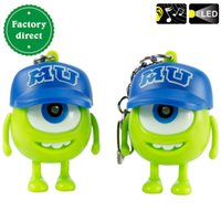 Wholesale Monsters University Mike Flashlight Keychain Monsters Inc Michael Wazowski Green Talking Sound James LED Light Keyrings Toy Christmas Gift