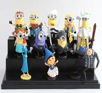 Wholesale 12Pcs set Despicable Me Minions Anime Toys CM Despicable Me Figure doll Minion Decoration Brinquedos freeship