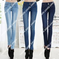 Wholesale Hot sale Fashion Women Mid Waist Jeans Women Single Breasted High Elastic Skinny Slim Pencil Pants KUQ019