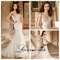 demetrios wedding dress - Demetrios Tulle Ivory Wedding Dresses V Neck Sleeveless Court Train Beading Applique Covered Button Mermaid Bridal Wedding Gowns WH1124