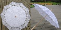 Wholesale Fabulous Lace Umbrella Handmade White Battenburg Lace Vintage Wedding Bridal Umbrella Parasol For Bridal Bridesmaid Wedding Tops Fashion