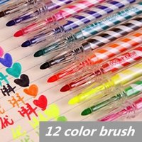 Wholesale 12 color Water color pen brush Rainbow stripe Marker Highlighter for Kid Stationery Art supplies material school office