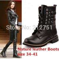 Wholesale Rivet Buckle Women Motorcycle Genuine Leather Lace Up Plus Big Size Leather Womens Cowboy Boots