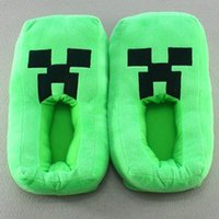 Wholesale New fashion Minecraft Creeper JJ warm shoes green slippers cartoon Minecraft slippers men women children s Christmas gift pair