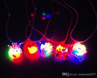 Wholesale Candy Colored Cartoon Plastic Led Flash Necklaces Luminous Light Pendants Creative Colorful Party Pendant Toys Gifts TY715