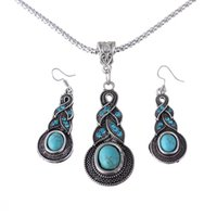 fashion beaded earrings - New Arrival Fashion Vintage Turquoise Necklace Dangler Earrings Drop Shipping Jewelry Set