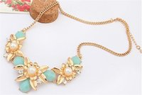 pearl choker necklace - 2015 fashion flower crystal chokers necklaces Statement gold plated flowers pearl choker Necklaces for women gift