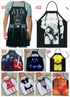 Wholesale 500pcs Apron Star Wars Top apron Boba fett Wonder women Anime Cartoon Character Series Kitchen Apron Funny Personality Cooking Apron Darth