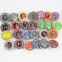 alphabet beads ceramic - Snap button jewelry rhinestone metal snap button initial A Z alphabet colorful enamel the letter snap button jewelry AC286