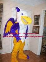 Wholesale Pretty Dark Yellow Purple Griffin Mascot Costume Griffon Gryphon Grifen With White Belly Mascotte Adult Suit No Free Ship