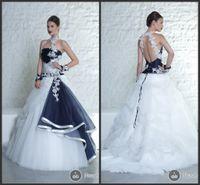 Wholesale Elegant Black Wedding Dress Halter A Line Hollow Wedding Dresses Tulle Applique Court Train Bridal Gowns Custom Made Online