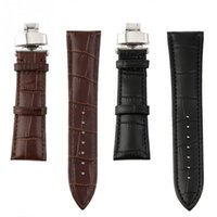 Wholesale NEW mm Genuine Leather Stainless Steel Butterfly Clasp Buckle Watch Band Strap
