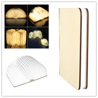 Wholesale rechargeable novelty LED USB Book Shape Night high bay Light Desk creative fashion Table Folding flip Turning Wood Book Lamp