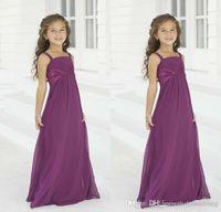 Wholesale Cheap Flower Girls Dresses for Weddings Summer Chiffon Purple Junior Bridesmaid Gowns Custom Made Communion Kids Formal Wear New