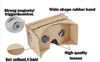 Wholesale 500pcs Google Cardboard VR Virtual Reality D Glasses Storm Mirror DIY Kit and Head Mount strap