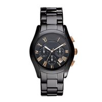 Wholesale Freeshipping AR1410 Ceramic Dress Mens Watch Chrono Watches Black Rose gold Quartz Casual Watches Original Box