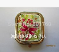 Wholesale Popular Russia cute square pocket tin makeup mirror