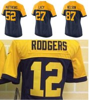 aaron rodgers ladies jersey - Factory Outlet Women Aaron Rodgers Eddie Lacy Clay Matthews Jordy Nelson Navy Blue Alternate Yellow Lady Football Jersey