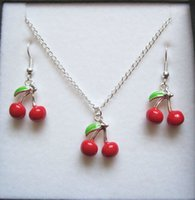 Wholesale Jewelry Set BUNCH OF CHERRIES Red Enamel Silver Plated Necklace Earrings Jewelry Set z573