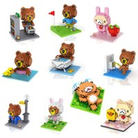 Wholesale 10pcs New Brown Bear CM LOZ Diamond Building Blocks Action Figure D Bricks education toy for kids No Original Box