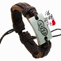 Wholesale Love stone mandrel leather bracelet jewelry supply boutiques selling stall selling bracelets