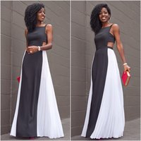 Wholesale 2016 sexy maxi dress Whtie black patchwork evening gown Sleeveless summer style backless long robe ruffle vestidos black white party dress