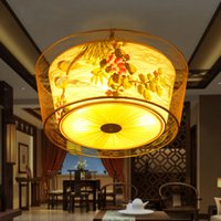Wholesale Round sweet and romantic restaurant sitting room lamps and lanterns hanging amphibious cloth art to absorb dome light absorption