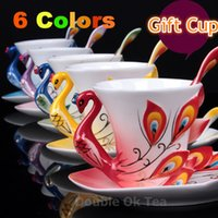 ceramic cup and saucer - New Arrival Colors Elegant ml Porcelain Color Enamel Mugs Peacock Coffee Cup Tea Set Ceramic Cups And Saucers Gift Box