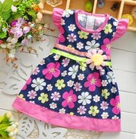 Wholesale S summer dress girl Baby Clothes Kids Casual Summer Dress Birthday Floral Printed Toddler Girls Dresses