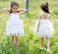 Wholesale Ball Gown Straps Short Mini Satin And Feather Tutu Dress Flower Girl Dress With Bow
