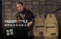 Wholesale Vintage fashion canvas messenger bag men shoulder bag shopping casual sports date handbag sling crossbody chest bag outside high quality