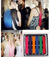 Wholesale 6 Colors Set Chalk Hair Easy Temporary Colors Non toxic Hair Chalk Soft Pastels Kit Hair Color Crayons for Hair