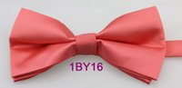 Wholesale BRAND NEW COACHELLA Casual Bowties Coral Pink Solid Cold Jacquard Woven Adjustable Bowties Adults Tuxedo Bow tie Unisex butterfly Pre Tied