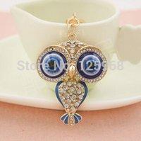 beautiful keyrings - 2015 New Hot Animal Owl Crystal Keyrings High Grade K Gold Plated Car Key Ring Chain Beautiful Gift