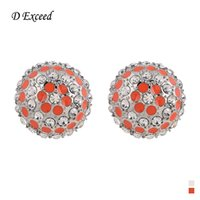 big orange earrings - Luxurious Clear Rhinestone Round Earrings for Girl Handmade Big Size Orange Stud Cheap Stud Earing Jewelry ER153591