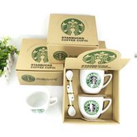 porcelain - Starbucks coffee cup set Starbucks cup Coffee mug Water bottle Cute couple office Ceramics cup With spoon one set