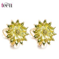 Wholesale Teemi New Women Luxury Vintage K Champagne Gold Unique Olive Green Purple Cubic Zircon Flower Ear Earrings Accessories