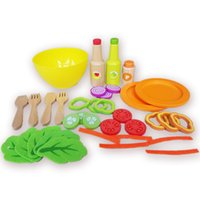 Wholesale Leafy keen salad set wooden Kitchen toys set christmas gift