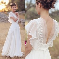 Wholesale 2015 Cheap Plus Size Chiffon Country Wedding Dresses V Neck Back Sheer Summer Bridal Gowns Lace Flowers White Vestidos Novia W3324