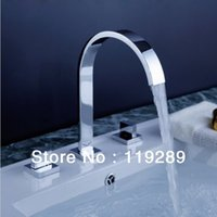 Wholesale Polished Chrome Torneira Banheiro Two Handles Deck Mounted Bathroom Widespread Faucet Bathroom Basin sink Mixer Tap KRLT
