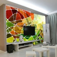 abstract stained glass - Art Wallpaper Murals Major Personality Abstract Geometric Stained Glass Pattern D Stereo Custom Wallpaper