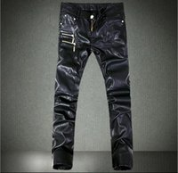 act free - Men s tight leather pants new fashion personality Slim motorcycle pants leather pants snow pants acting club