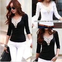 womens tops - NEW Fashion Womens V Neck Blouse Slim Casual long Sleeve Shirt Tops S XXL Black White Colors DH04