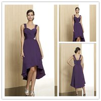 Wholesale Purple Ruffles Crystals Mother of the Bride Dresses A Line Hi Lo Spaghetti Neck Sleeveless Backless Knee Length Christmas Party Gowns